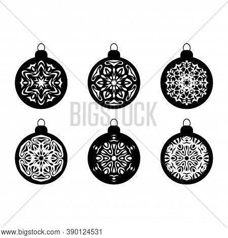 Christmas Ball New Year Bauble Winter Snow Ball Ornaments New Years Clipart Snowflake Ball Silhouett