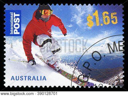 Australia - Circa 2011:a Cancelled Postage Stamp From Australia Illustrating Skiiing In Australia ,