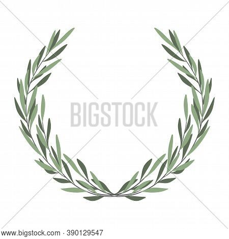 Olive Tree Border. Vector Element. Olive Frame Vector. Olive Branch Wreath. Hand Drawn Natural Vecto