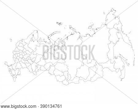 Blank Political Map Of Russia, Or Russian Federation. Federal Subjects - Republics, Krays, Oblasts,