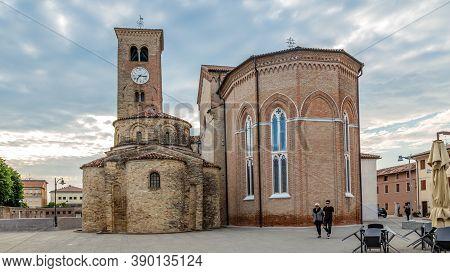 Concordia Sagittaria, Veneto Italy - May 23, 2019: Ancient Catholic Church In The Archeological Cent