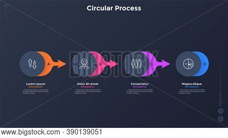 Four Paper Black Round Elements Placed In Horizontal Row And Connected By Colorful Arrows. Concept O
