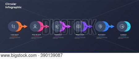 Six Paper Black Round Elements Placed In Horizontal Row And Connected By Colorful Arrows. Concept Of