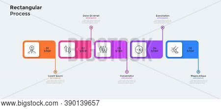 Five Colorful Rectangular Elements Or Cards Placed In Horizontal Row. Concept Of 5 Steps Of Business