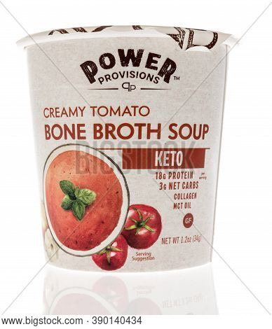 Winneconne, Wi - 16 October 2020:  A Package Of Power Provisions Creamy Tomato Bone Broth Soup On An