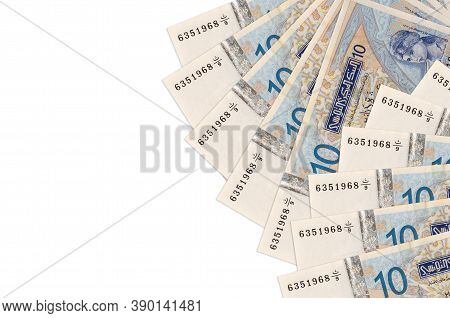 10 Tunisian Dinars Bills Lies Isolated On White Background With Copy Space. Rich Life Conceptual Bac