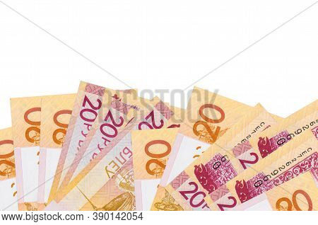 20 Belorussian Rubles Bills Lies On Bottom Side Of Screen Isolated On White Background With Copy Spa