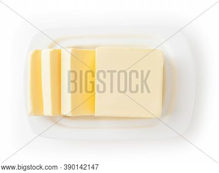Fresh Butter On White Butter Dish Isolated On White Background With Clipping Path