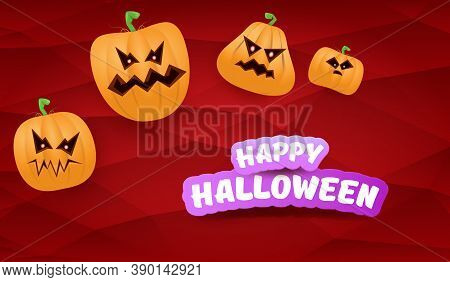 Halloween Horizontal Web Banner Or Poster With Halloween Scary Pumpkins Gang Isolated On A Red Backg