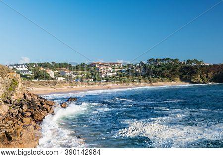 Wide-angle View Of A Beach In Portonovo Outside The Ria De Pontevedra, Spain.