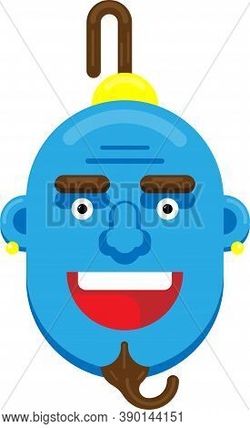 Flat Laughing Genie Face Vector, Illustration, Blue Color.