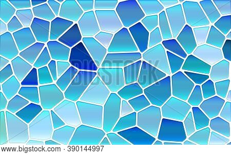 Abstract Vector Stained-glass Mosaic Background - Bright And Light Blue