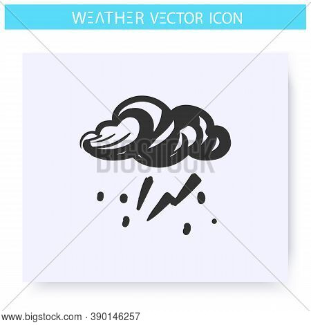 Thunderstorm Icon. Hand Drawn Sketch. Thundercloud With Lightning. Rainy Weather. Rainfall. Blizzard