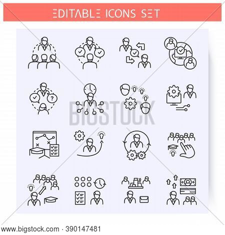 Mentoring Types Line Icons Set. Mentoring Technologies, Ways, Specifications. Training Workshop. Gui