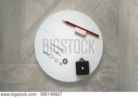 Step-by-step Instructions For Diy Round Wall Clock On Canvas In Technique Of Zentangle Drawing Patte