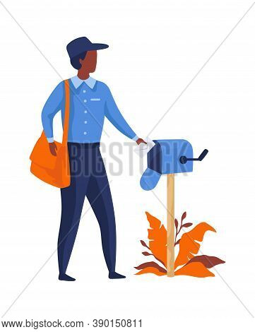Postman Delivering Letters. Mailman In Blue Uniform And Bag Puts Letter In Mailbox, Express Delivery