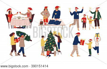 Christmas Celebration Scenes. Cartoon Family And Friends Prepare Gifts And Presents, Decorate Tree F