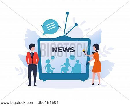 Journalist Interviews Movie Star Or Politician. News Or Talk Show On Tv. Cartoon Man And Woman Discu