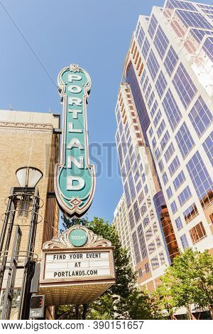 Portland, Or, Usa - June 27, 2018: Famous Street Sign Portland On The Building Of Arlene Schnitzer C