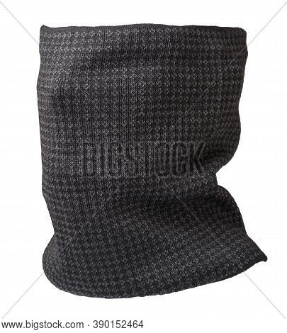 Brown Scarf Wind Mask Isolated On White Background. Wool Scarf .face Scarf