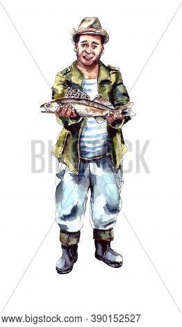 Watercolor Illustration.the Character Is A Happy Fisherman Holding A Caught Fish In His Hands. Mens