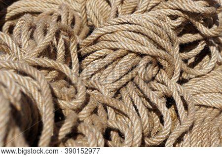 Hank of nautical rope. Selective focus.