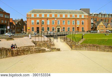 Chester, Cheshire, England, Uk, Europe - April 19, 2019 : Tourists Visining The Roman Amphitheatre I