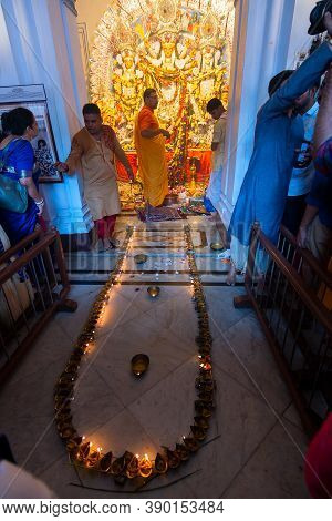 Kolkata, West Bengal, India - 6th October 2019 : 108 Lamps Are Lit , Devotees Gathered For Watching