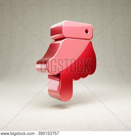 Hand Point Down Icon. Gold Glossy Hand Point Down Symbol Isolated On White Concrete Background. Mode