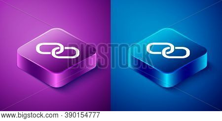 Isometric Chain Link Icon Isolated On Blue And Purple Background. Link Single. Hyperlink Chain Symbo