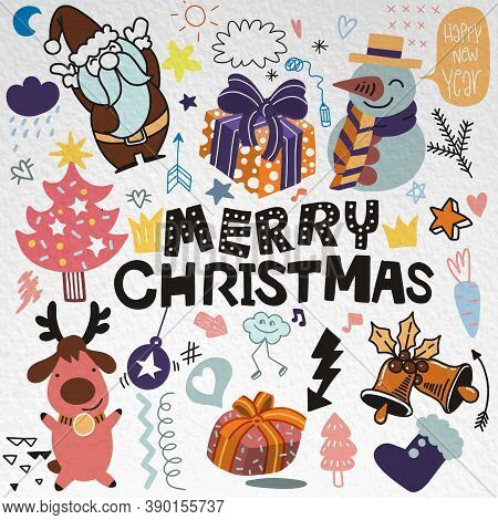 Cute Hand Drawn Doodles ,christmas Doodle Drawing Collection.hand Drawn Doodle Illustrations In Colo