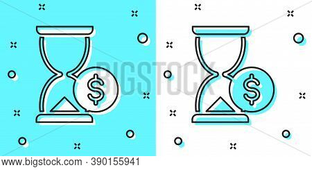 Black Line Hourglass With Dollar Icon Isolated On Green And White Background. Money Time. Sandglass