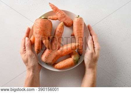 Abnormal Ugly Organic Carrots In Plate In Womans Hand On White Table. Natural Homegrown Vegetables S