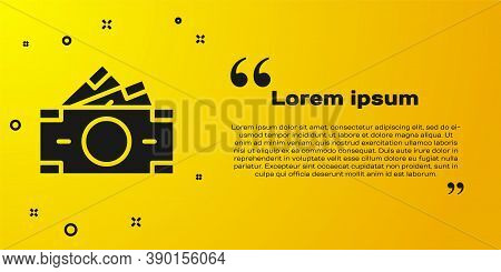 Black Stacks Paper Money Cash Icon Isolated On Yellow Background. Money Banknotes Stacks. Bill Curre