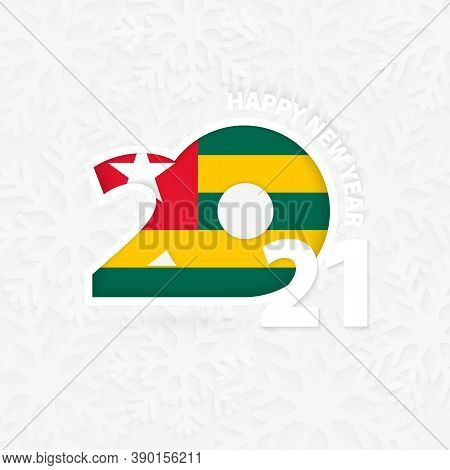 Happy New Year 2021 For Togo On Snowflake Background. Greeting Togo With New 2021 Year.