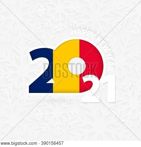 Happy New Year 2021 For Chad On Snowflake Background. Greeting Chad With New 2021 Year.