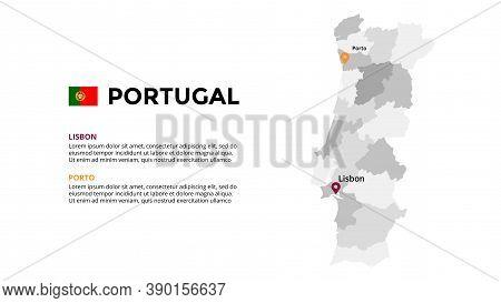 Portugal Vector Map Infographic Template. Slide Presentation. Lisbon, Porto. Global Business Marketi
