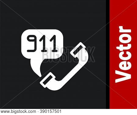 White Telephone With Emergency Call 911 Icon Isolated On Black Background. Police, Ambulance, Fire D