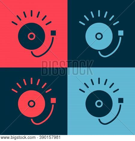 Pop Art Ringing Alarm Bell Icon Isolated On Color Background. Fire Alarm System. Service Bell, Handb