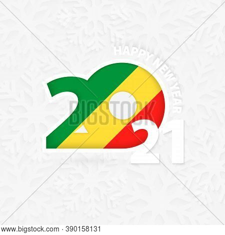 Happy New Year 2021 For Congo On Snowflake Background. Greeting Congo With New 2021 Year.