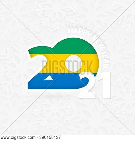 Happy New Year 2021 For Gabon On Snowflake Background. Greeting Gabon With New 2021 Year.