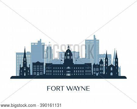 Fort Wayne Skyline, Monochrome Silhouette. Vector Illustration.