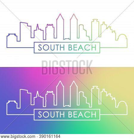Miami South Beach Skyline. Colorful Linear Style. Editable Vector File.