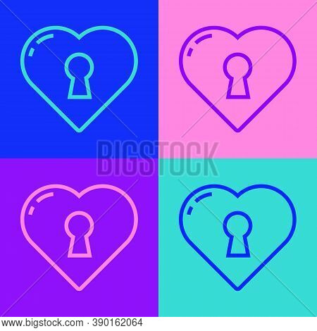 Pop Art Line Heart With Keyhole Icon Isolated On Color Background. Locked Heart. Love Symbol And Key