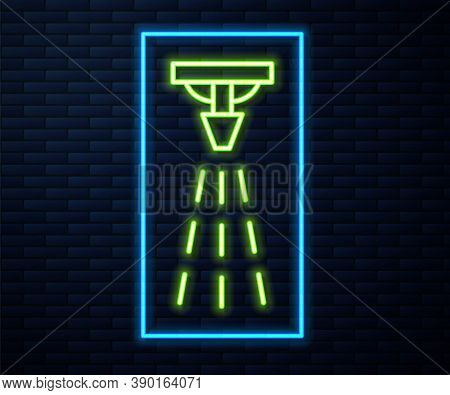 Glowing Neon Line Fire Sprinkler System Icon Isolated On Brick Wall Background. Sprinkler, Fire Exti