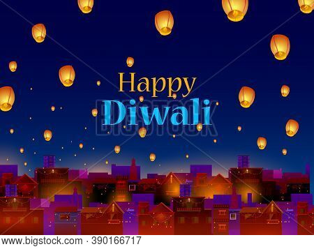 Decorated Diya For Happy Diwali Festival Holiday Celebration Of India Greeting Background