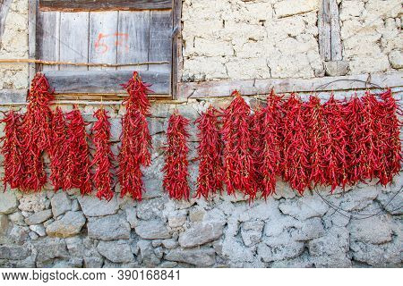 Peppers Drying Outside As Traditional At Village