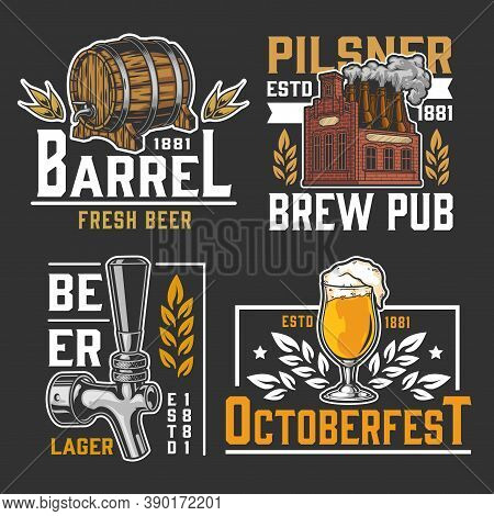 Brewing Vintage Logos Set With Beer Glass Wooden Cask Tap And Brick Brewery With Bottles Instead Of