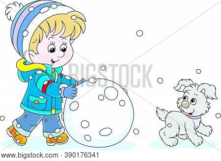 Cheerful Little Boy Walking With His Small Pup And Rolling A Big Snowball To Make A Funny Snowman, V