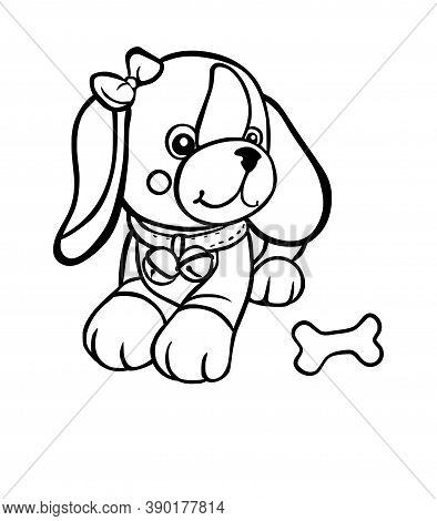 Cute Cartoon Vector Dog Pet Puppy Isolate Outline Silhouette Drawing Illustration With Bone.smiling